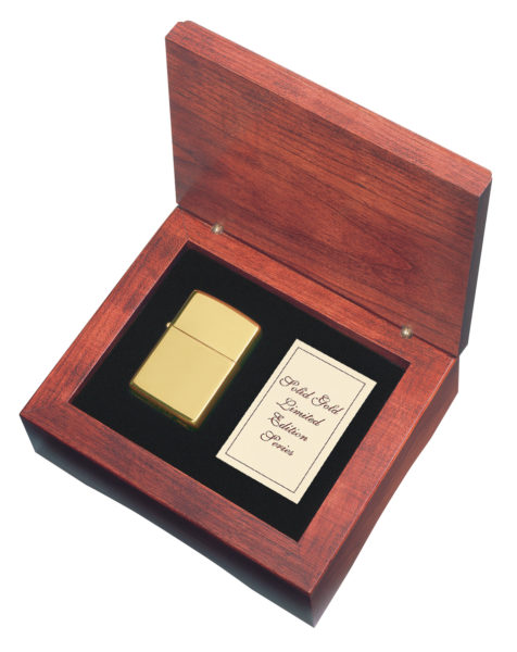 It's the ultimate indulgence. With understated elegance, this 18kt. gold lighter feels solid and substantial, looks absolutely beautiful. Packaged in a custom crafted cherry gift box with a cartificate of registration plain
